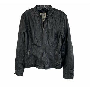 Made By Johnny Black Faux Leather Full Zip Jacket